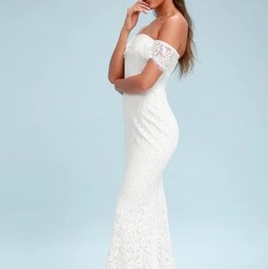 Lulu's White Lace Off-The-Shoulder Maxi Dress
